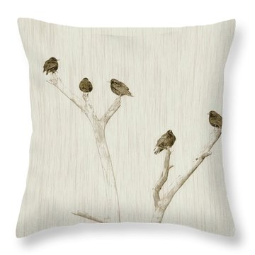 Treetop Starlings Throw Pillow by Benanne Stiens