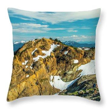 Trekking Into Camp Throw Pillow