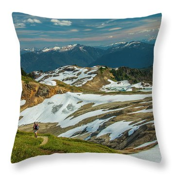 Trekking Ptarmigan Ridge Throw Pillow