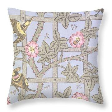 Trellis   Antique Wallpaper Design Throw Pillow by William Morris