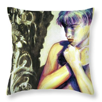 Throw Pillow featuring the painting Trembling Flower by Rene Capone