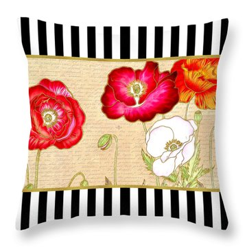 Trendy Red Poppy Floral Black And White Stripes Throw Pillow