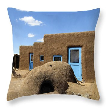 Tres Casitas Taos Pueblo Throw Pillow