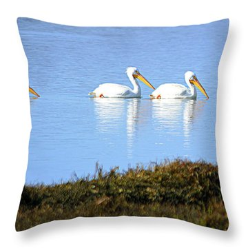 Tres Pelicanos Blancos Throw Pillow by AJ Schibig