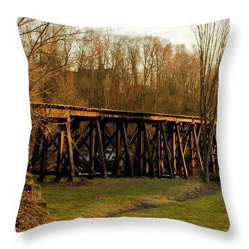 Throw Pillow featuring the photograph Tressel View Sunset  by Betty Pauwels
