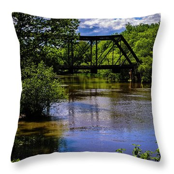 Throw Pillow featuring the photograph Trestle Over River by Mark Myhaver