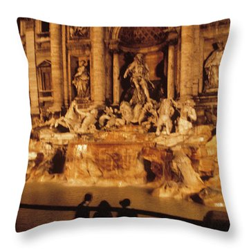 Trevi At Night Throw Pillow