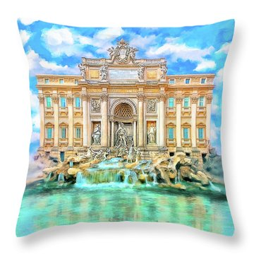 Throw Pillow featuring the photograph La Dolce Vita - The Trevi Fountain In Rome by Mark E Tisdale