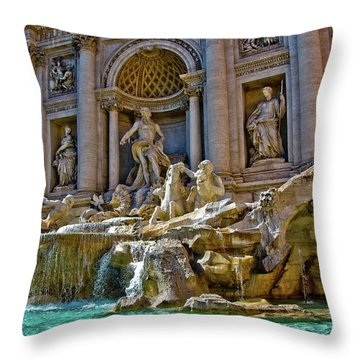 Throw Pillow featuring the photograph Trevi Fountain From Right Side  by Harry Spitz
