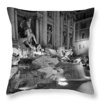 Trevi Fountain Night 2 Throw Pillow