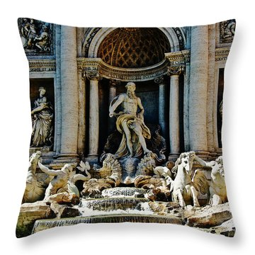 Throw Pillow featuring the photograph Trevi Fountain Vertical  by Harry Spitz