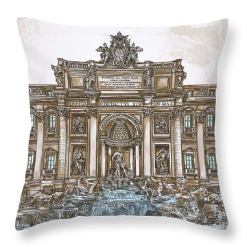Throw Pillow featuring the painting  Trevi Fountain,rome  by Andrzej Szczerski