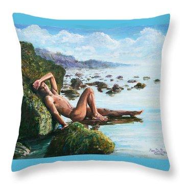 Trevor On The Beach Throw Pillow