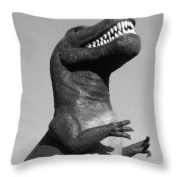 T-rex Black And White Throw Pillow
