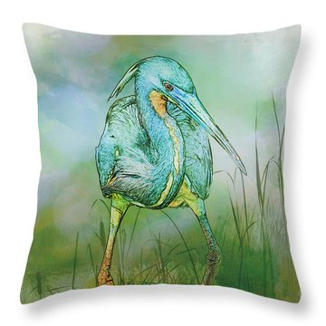 Throw Pillow featuring the photograph Tri-colored Heron Balancing Act - Colorized by Patti Deters