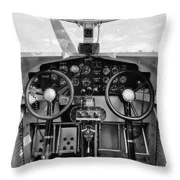 Tri-motor Cockpit - 2017 Christopher Buff, Www.aviationbuff.com Throw Pillow