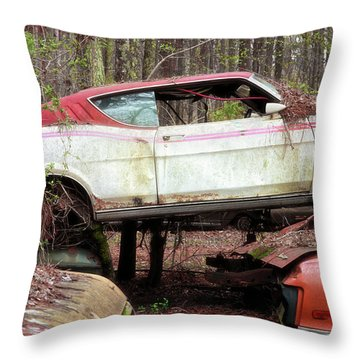 Throw Pillow featuring the photograph Tri Stack Old Car Image Art by Jo Ann Tomaselli