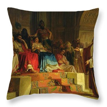 Trial Of The Apostle Paul Throw Pillow by Nikolai K Bodarevski