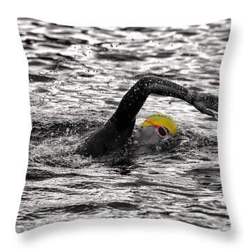 Triathlon Swimmer Throw Pillow