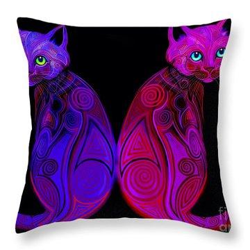 Tribal Cats Throw Pillow
