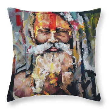 Throw Pillow featuring the painting Tribal Chief Sadhu by Richard Day