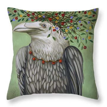 Throw Pillow featuring the painting Tribal Nature by Leah Saulnier The Painting Maniac