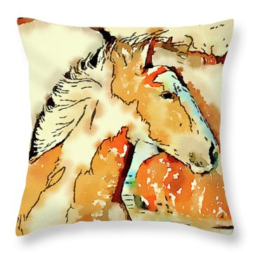 Tribal Pony Throw Pillow by Michele Ross