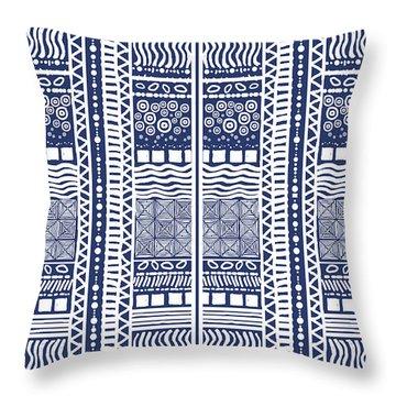 Tribal Sampler Indigo Throw Pillow