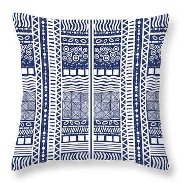 Tribal Sampler Indigo Throw Pillow