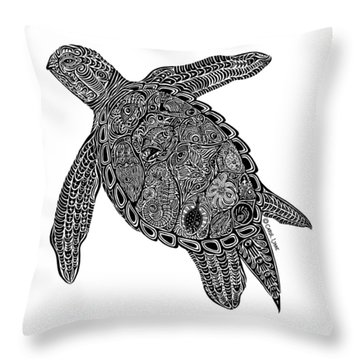 Tribal Turtle I Throw Pillow by Carol Lynne
