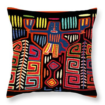 Tribal Woman Fanning Stove Throw Pillow