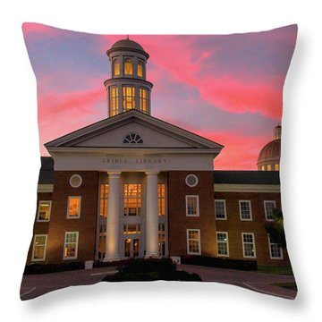 Throw Pillow featuring the photograph Trible Library Pastel Sunset by Ola Allen