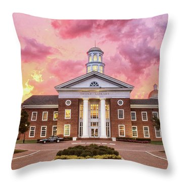 Throw Pillow featuring the photograph Trible Library Under A Crayola Sky Christopher Newport University  by Ola Allen