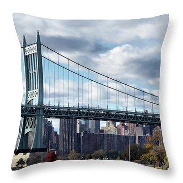 Triboro Bridge In Autumn Throw Pillow