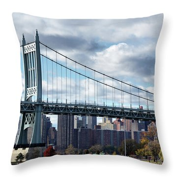 Triboro Bridge In Autumn Throw Pillow