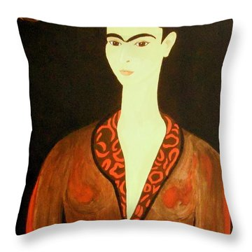 Throw Pillow featuring the painting Tribute To Frida by Stephanie Moore