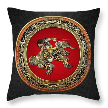 Tribute To Hokusai - Shoki Riding Lion  Throw Pillow