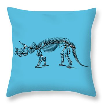 Triceratops Dinosaur Tee Throw Pillow by Edward Fielding
