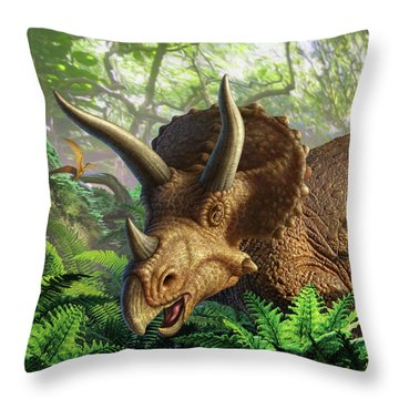 Triceratops Throw Pillow