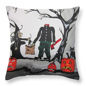Throw Pillow featuring the painting Trick Or Treat. by Jeffrey Koss