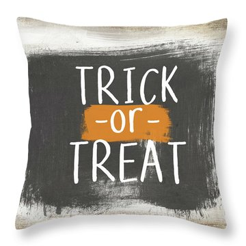 Trick Or Treat Sign- Art By Linda Woods Throw Pillow