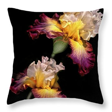 Tricolor Iris Pair Throw Pillow