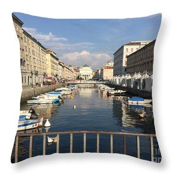 Trieste Grand Canal Throw Pillow
