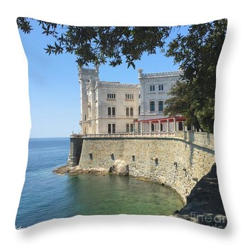 Trieste- Miramare Castle Throw Pillow by Italian Art