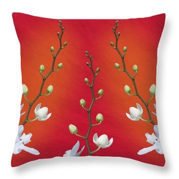 Trifecta Of Orchids Throw Pillow
