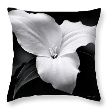 Throw Pillow featuring the photograph Trillium Black And White by Christina Rollo