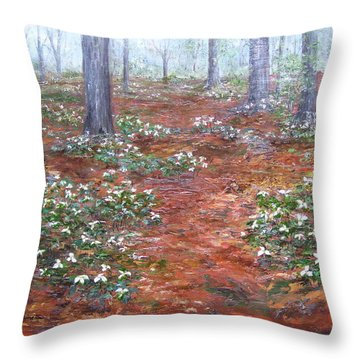 Trilliums After The Rain Throw Pillow
