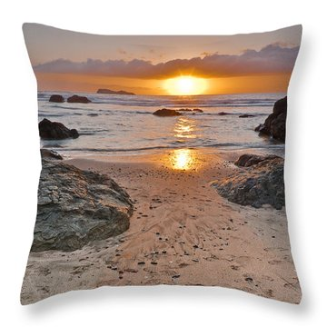 Trinidad State Beach Sunset Throw Pillow by Greg Nyquist