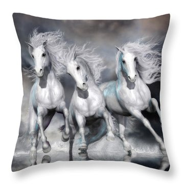 Throw Pillow featuring the digital art Trinity Galloping Horses Blue by Shanina Conway