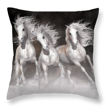 Throw Pillow featuring the digital art Trinity Horses Neutrals by Shanina Conway